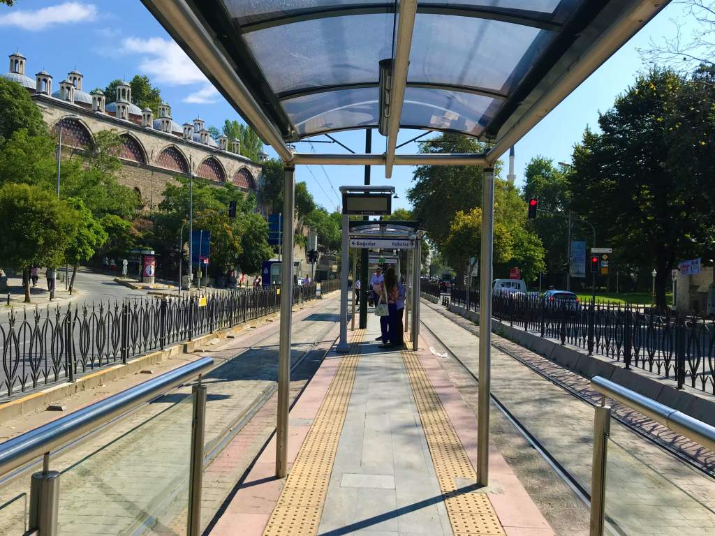 Tram station in Istanbul.