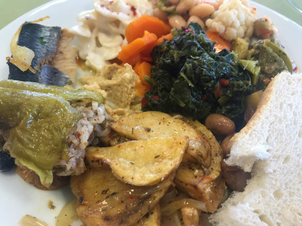 Plate of food from Han Restaurant's buffet lunch.