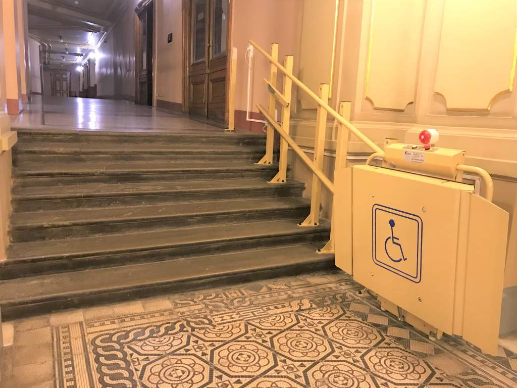 A wheelchair accessible lift at the Lviv Opera and Ballet Theater.