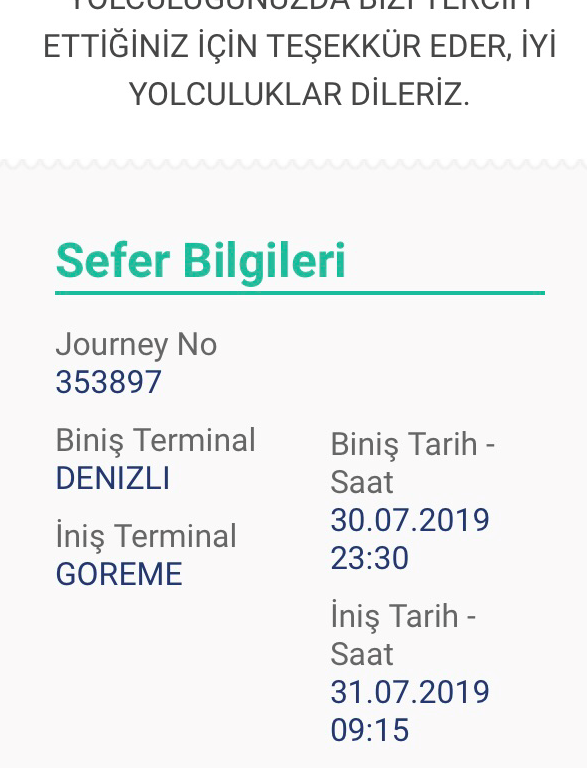 Bus ticket confirmation from Pamukkale to Cappadocia.