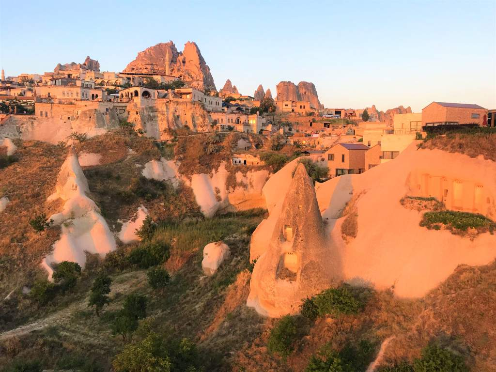 A view of Göreme town from the hot air balloon.