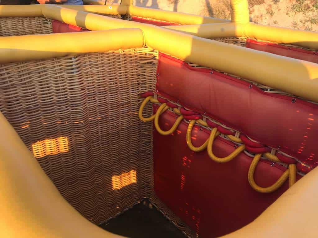 A basket of a hot air balloon in Cappadocia.