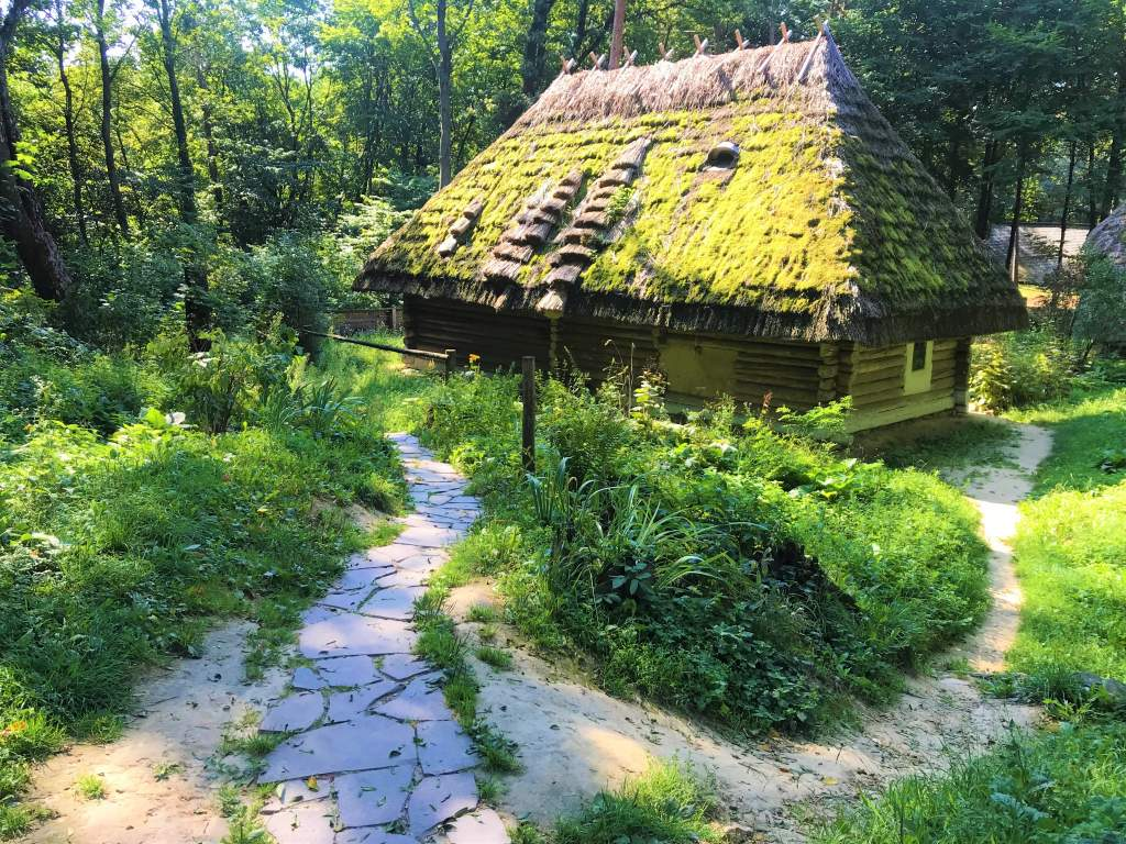 A wooden house at the Open Air Museum, which is one of the great things to do in Lviv.