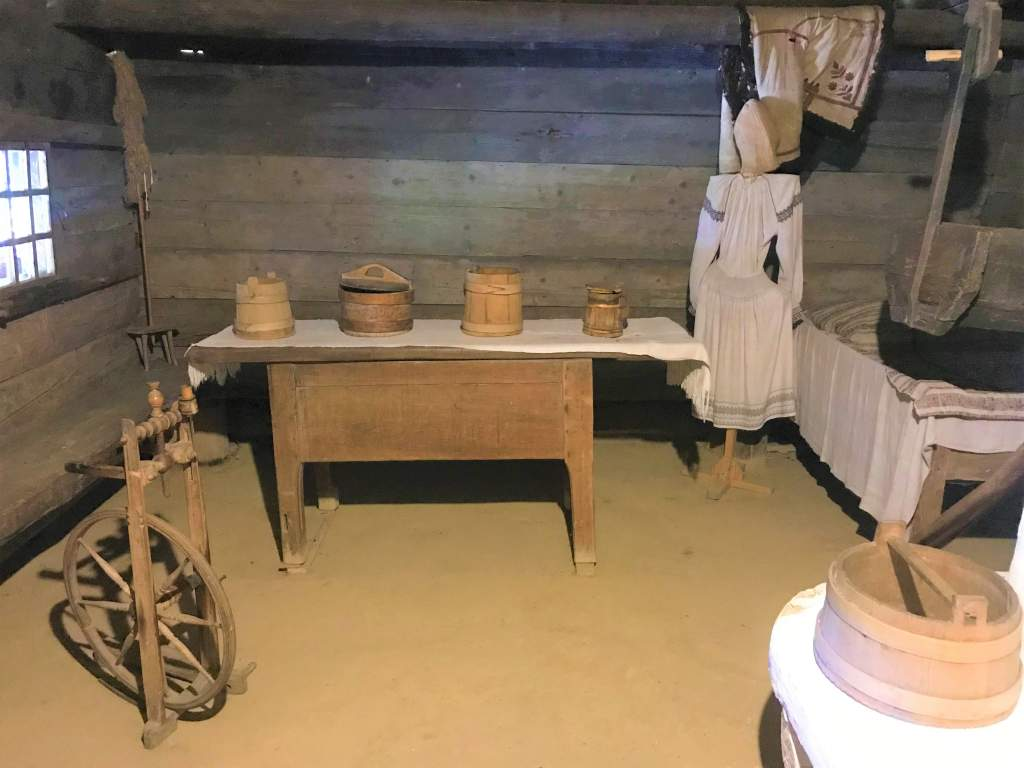 The inside of one of the houses at the Open Air Museum.