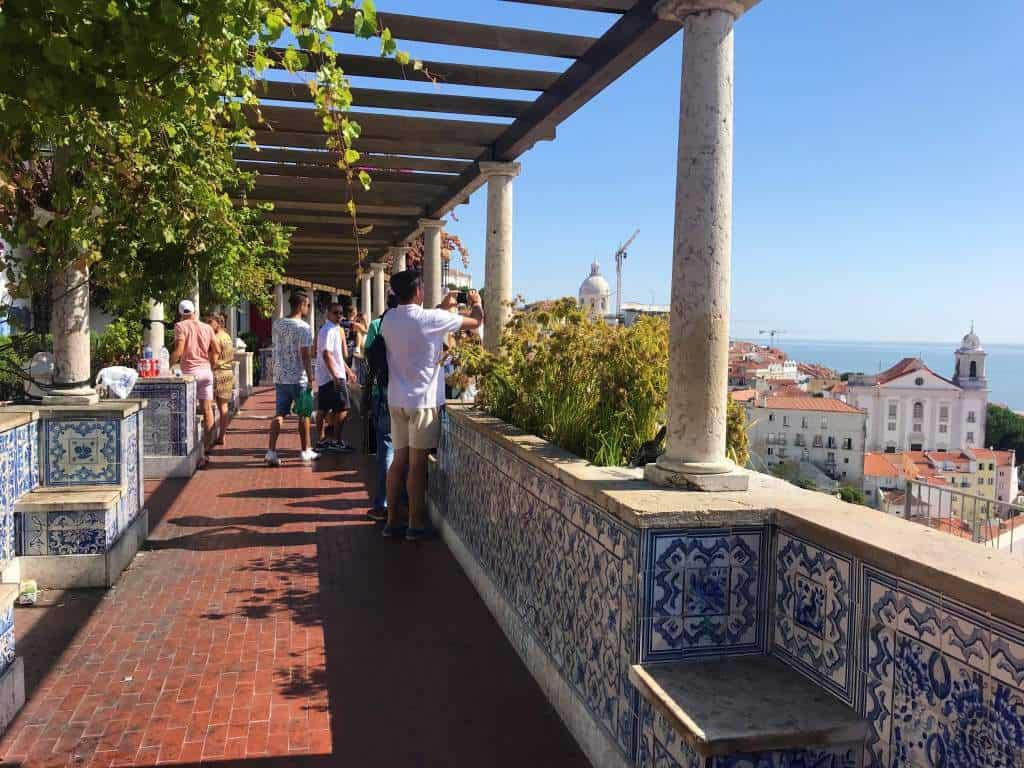 The wheelchair accessible viewpoint of Miradouro de Santa Luiza in Lisbon.
