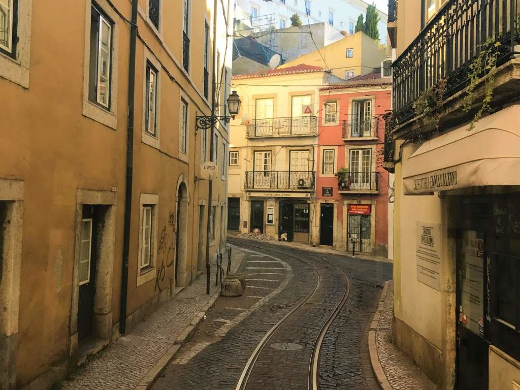 Narrow streets in Alfama like this one make this district one of the least wheelchair accessible parts of Lisbon.