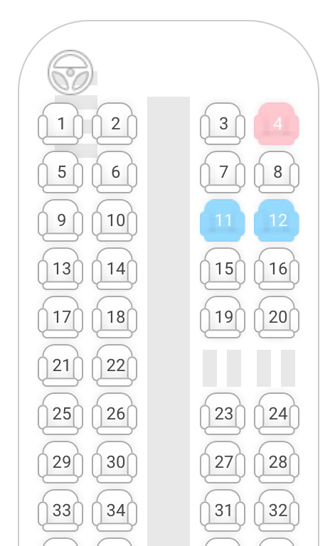 Bus seating chart showing blue and pink seats from Pamukkale to Cappadocia.