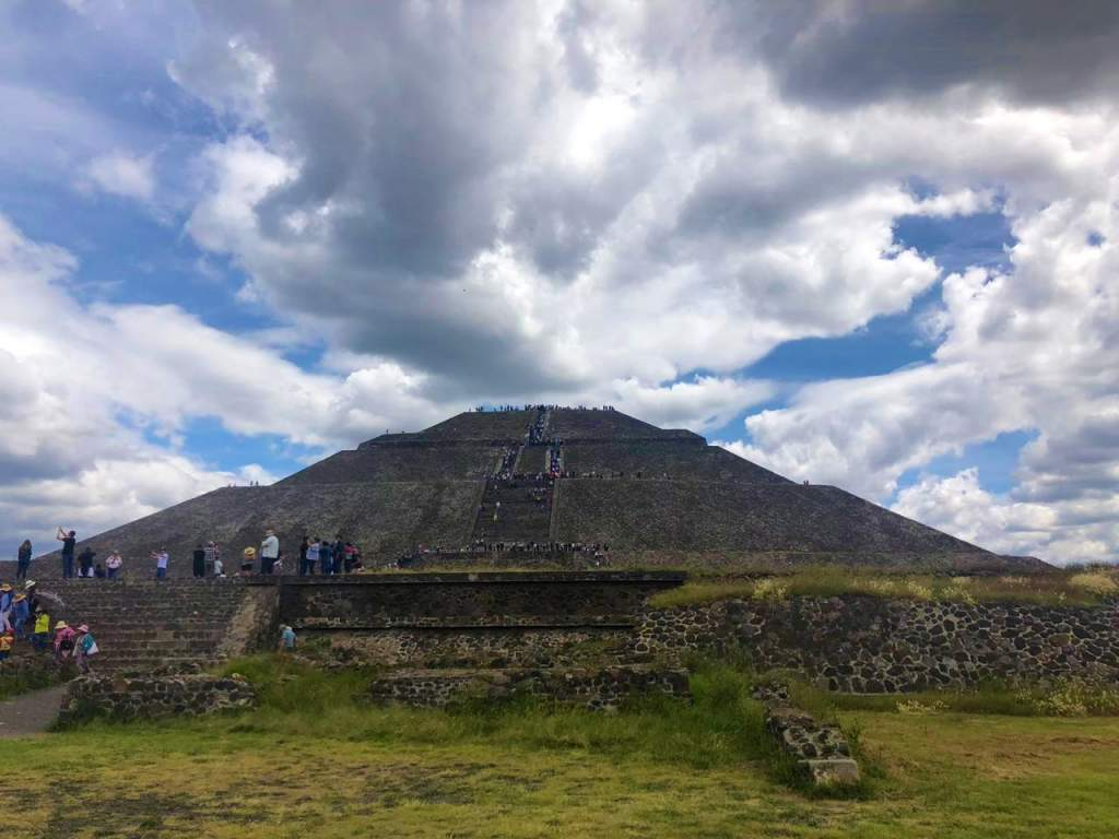 A view of the Pyramid of the Sun from the ground level.