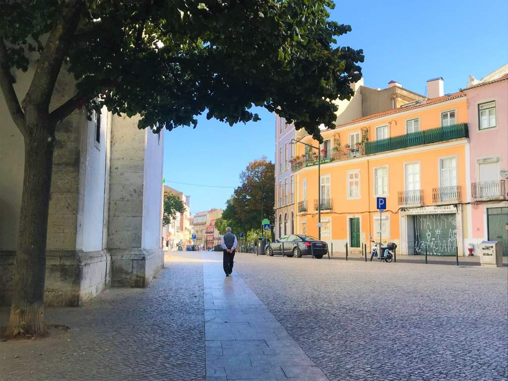 A wheelchair accessible path leads out from the Graça Church in Lisbon.