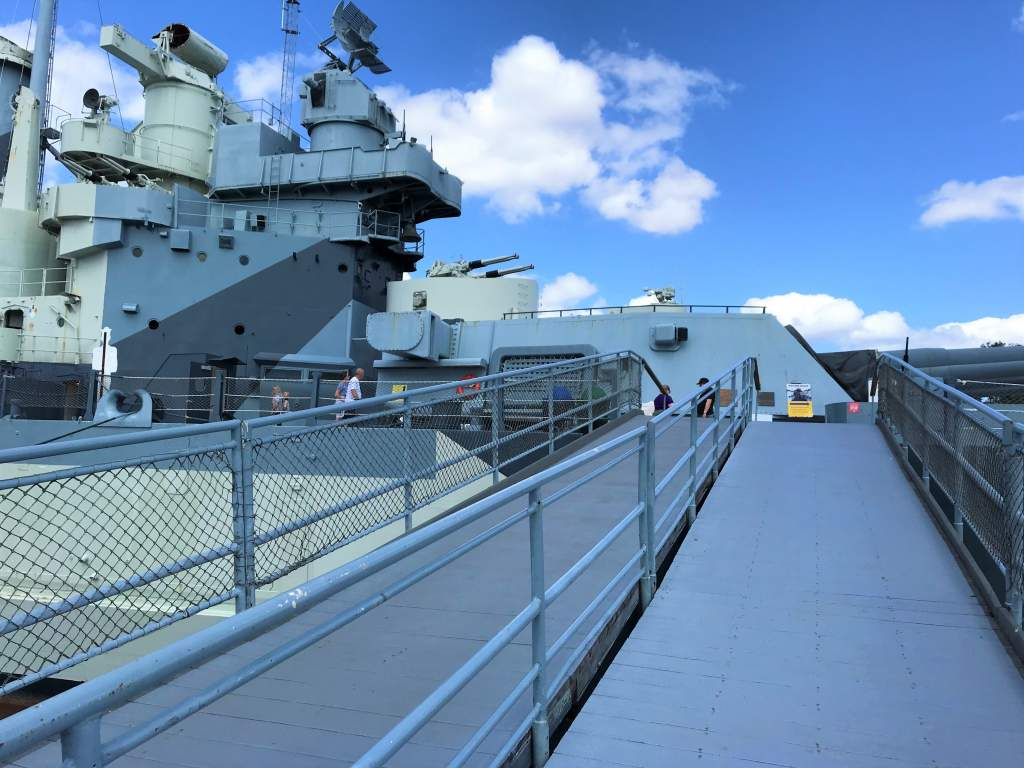 The ramp leading up to the USS North Carolina Battleship.