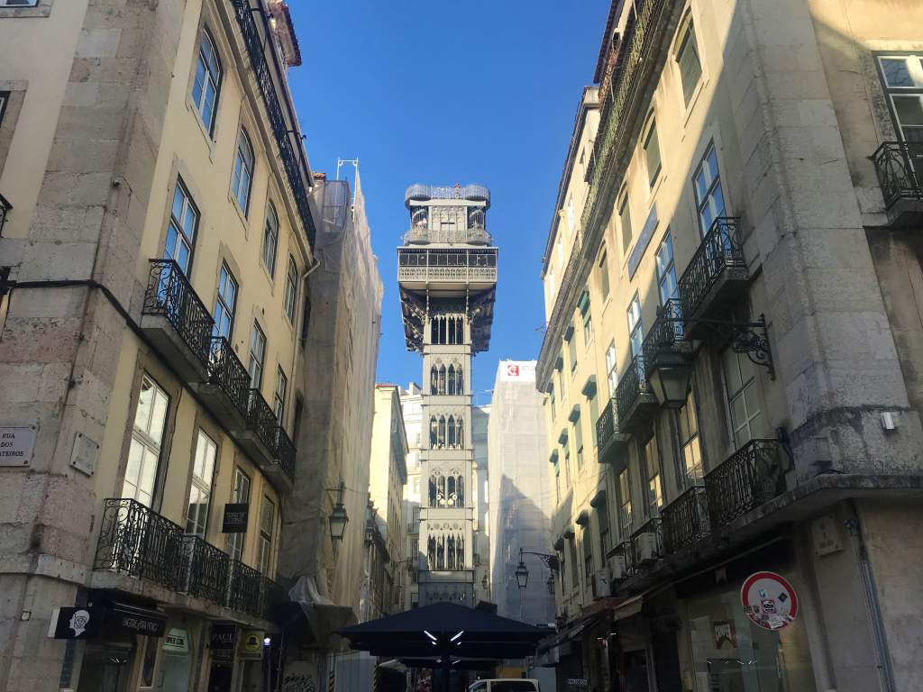 A view of Santa Justa Elevator from the ground floor.