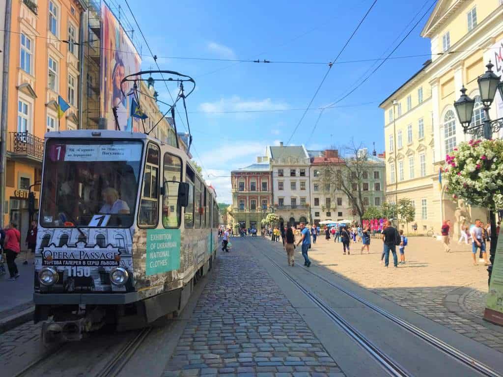 A tram in Lviv's historical center.