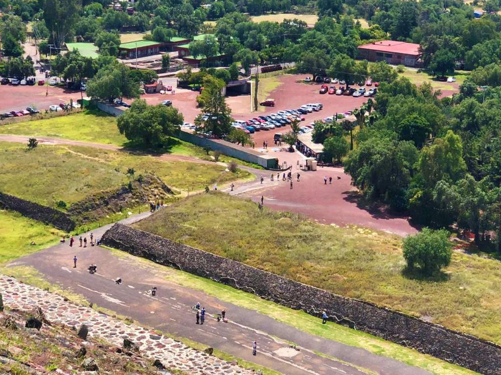 The wheelchair accessible parking lot at Teotihuacan.