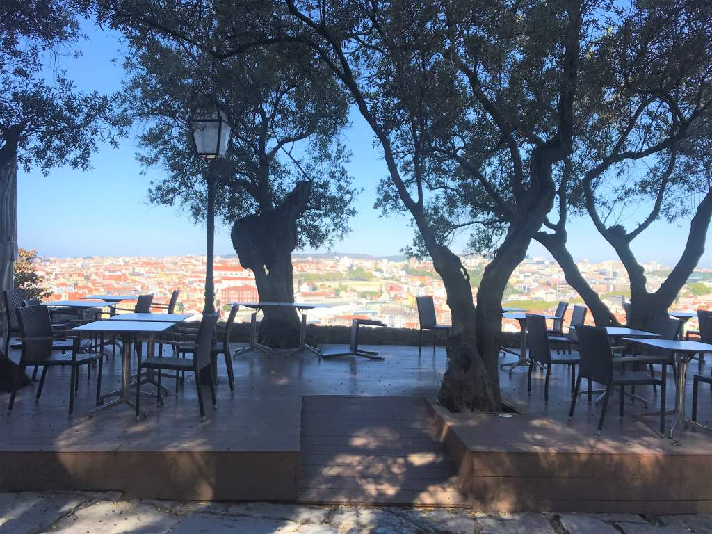 An accessible ramp for the dining area with a view at St. George's Castle.