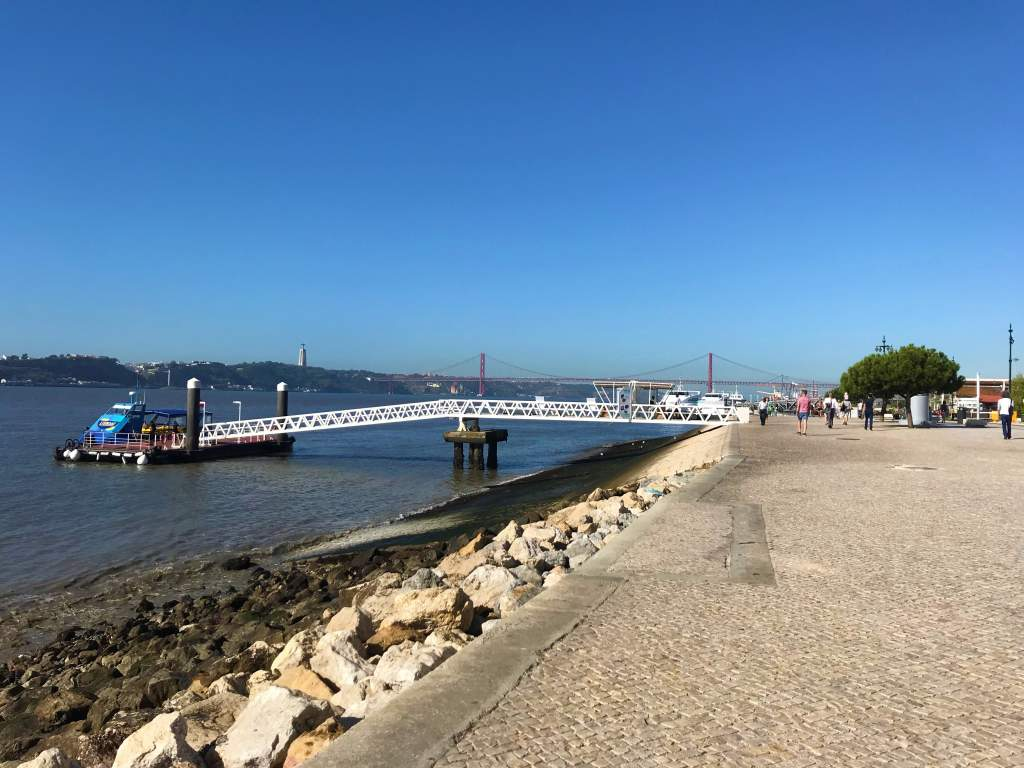 The riverfront boardwalk in Lisbon, which is wheelchair accessible.