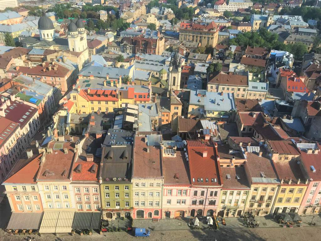 A view of Rynok Square from the top of Lviv's city hall.