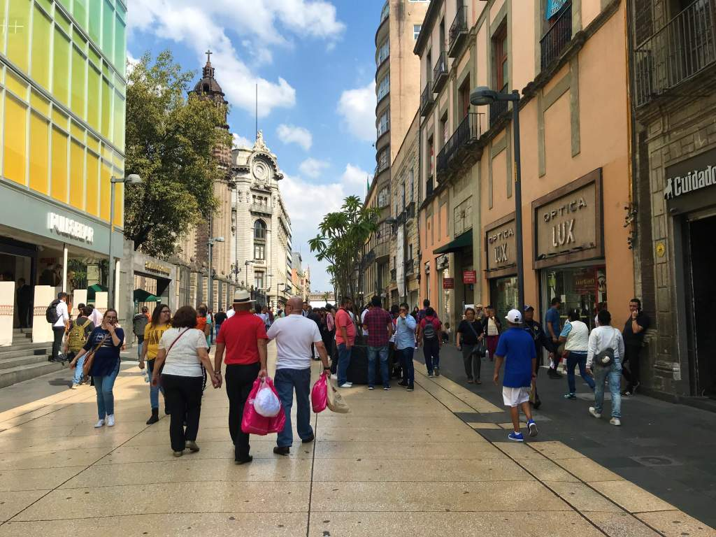 The wide, smooth-surfaced Calle Francisco I. Madero Street in downtown Mexico is wheelchair accessible.