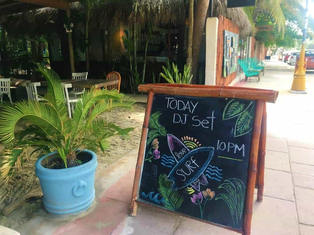 DJ sign at Selina Hostel, Puerto Escondido.