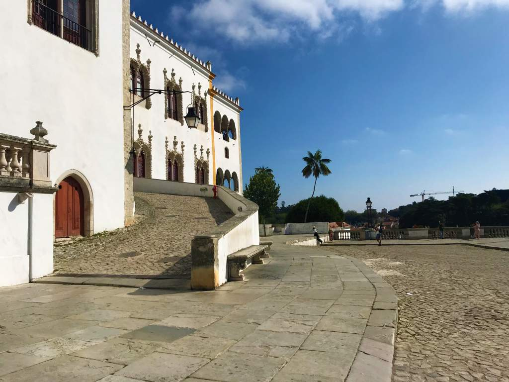 Road that serves as a wheelchair accessible ramp leading to the Sintra National Palace.