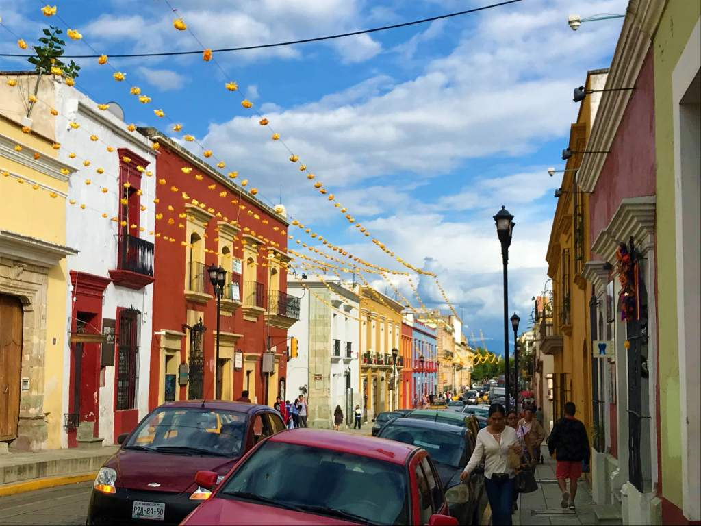 A street in Oaxaca decorated for Day of the Dead.