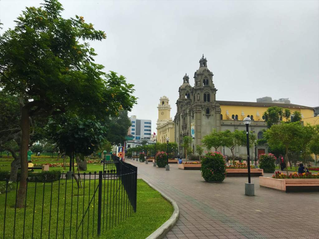 A brick path leads through Kennedy Park in Lima, making it wheelchair friendly.