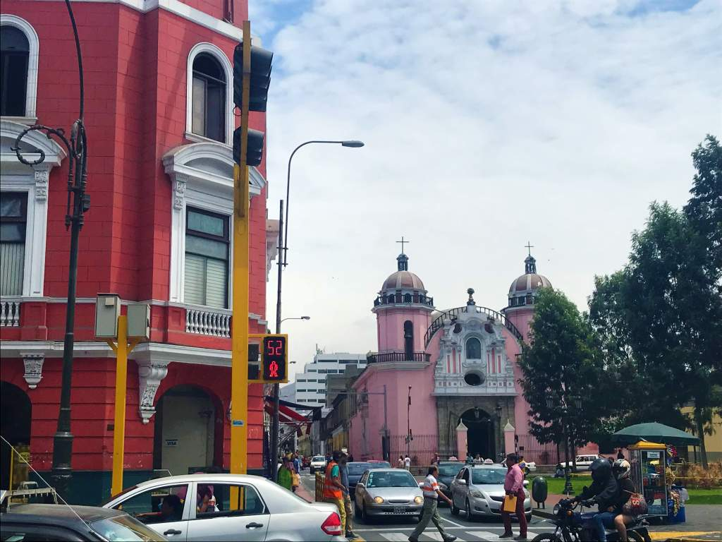 Crowded streets in Lima, Peru.