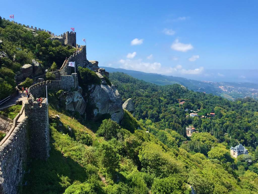 A view of the Moorish Castle wall and countryside.