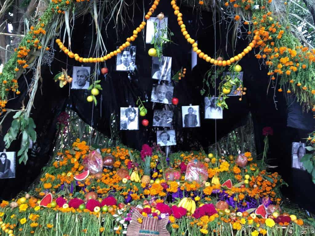 An outdoor offering in Oaxaca.
