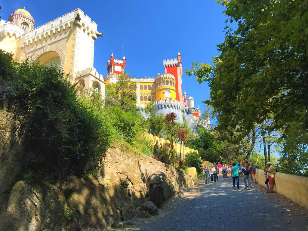 The wheelchair accessible road leading up to Pena Palace.