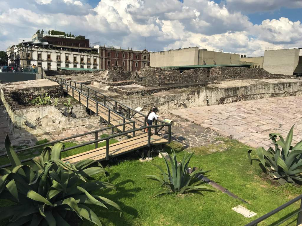 A view of the ruins outside the Templo Mayor Museum.