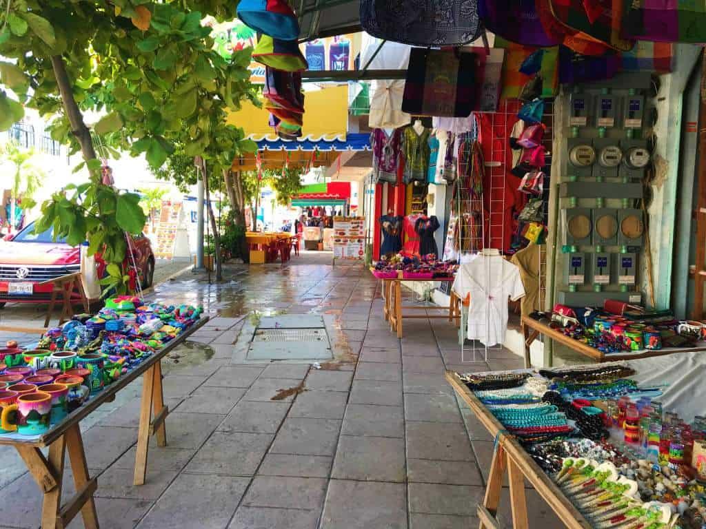Souvenir stands in Puerto Escondido town.