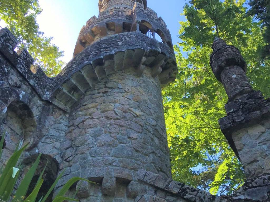 A winding staircase on a lookout tower of Quinta da Regaleira.