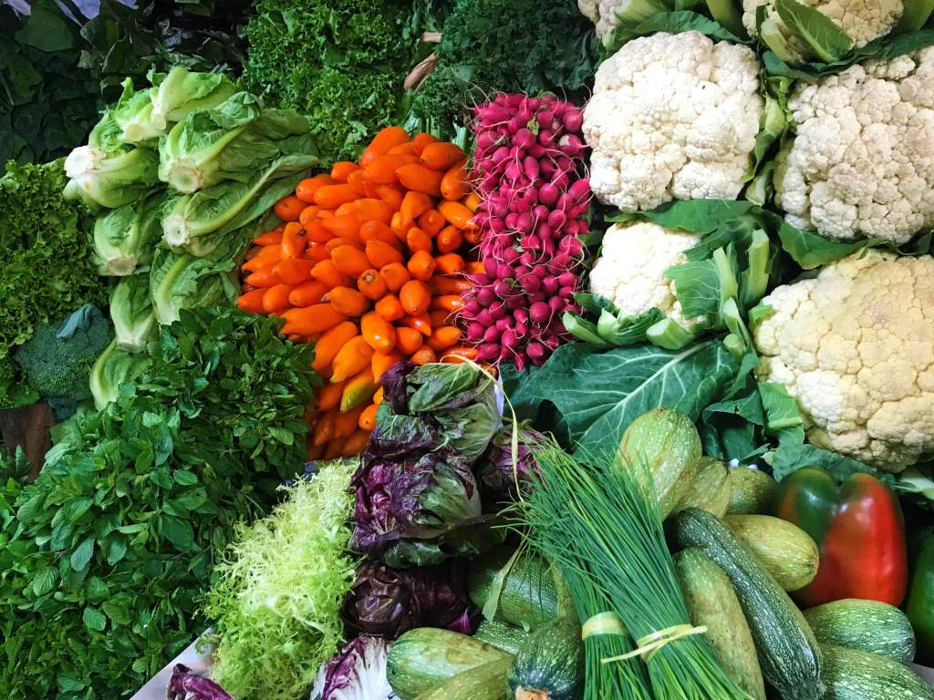 Colorful vegetables at the Surquillo Market.