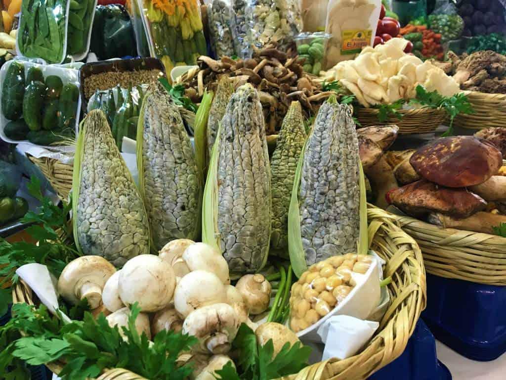 Corn and mushrooms at the Coyoacán Market.