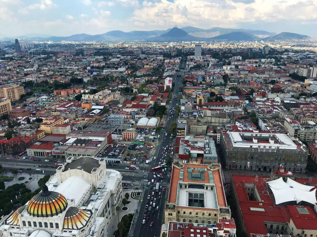 A view of Mexico City from the wheelchair accessible section of the Torre Latinoamericana.