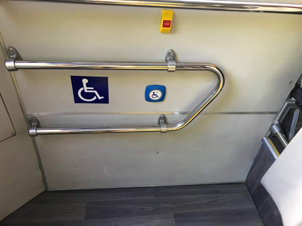 The wheelchair accessible area on a Scotturb bus.