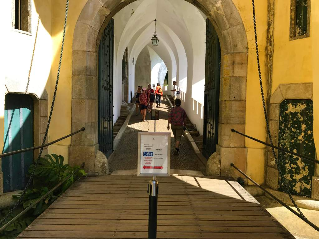 The wheelchair accessible entrance to the inside of Pena Palace.
