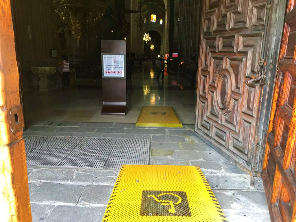 A wheelchair accessible ramp at the Metropolitan cathedral in downtown Mexico City.