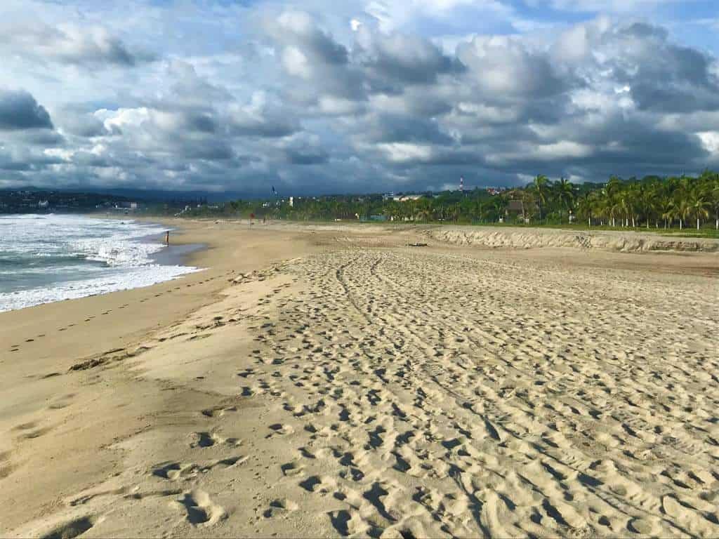 Wide, sandy area at Zicatela Beach.