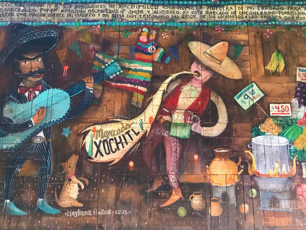 A mural at the Xochimilco Market.