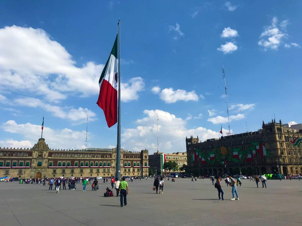 The wide, wheelchair accessible plaza in downtown Mexico City.