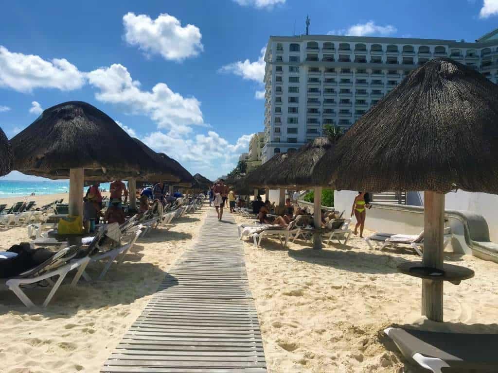 A wheelchair friendly beach boardwalk at the Marriott in Cancun.