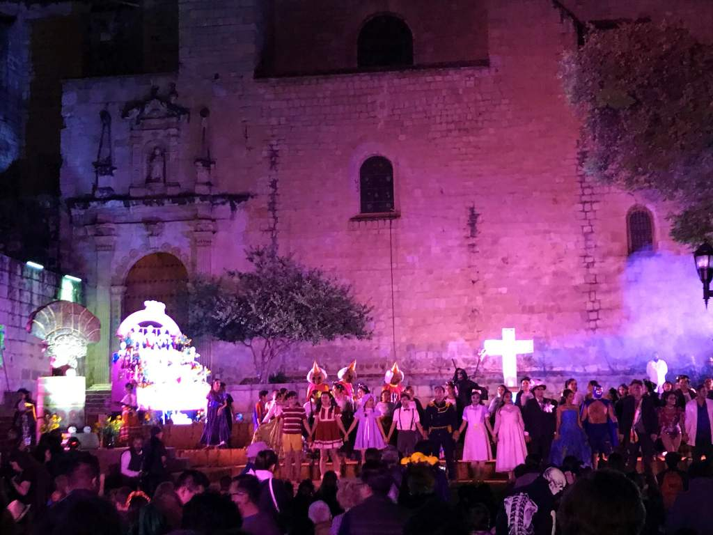 An evening ceremony for Day of the Dead in Oaxaca.