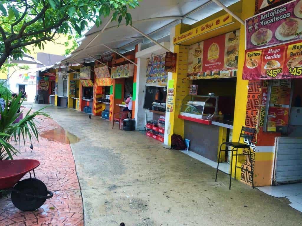 Food stands at Las Palapas Park.