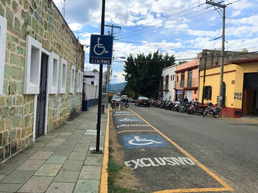 Handicap parking spaces in Oaxaca.