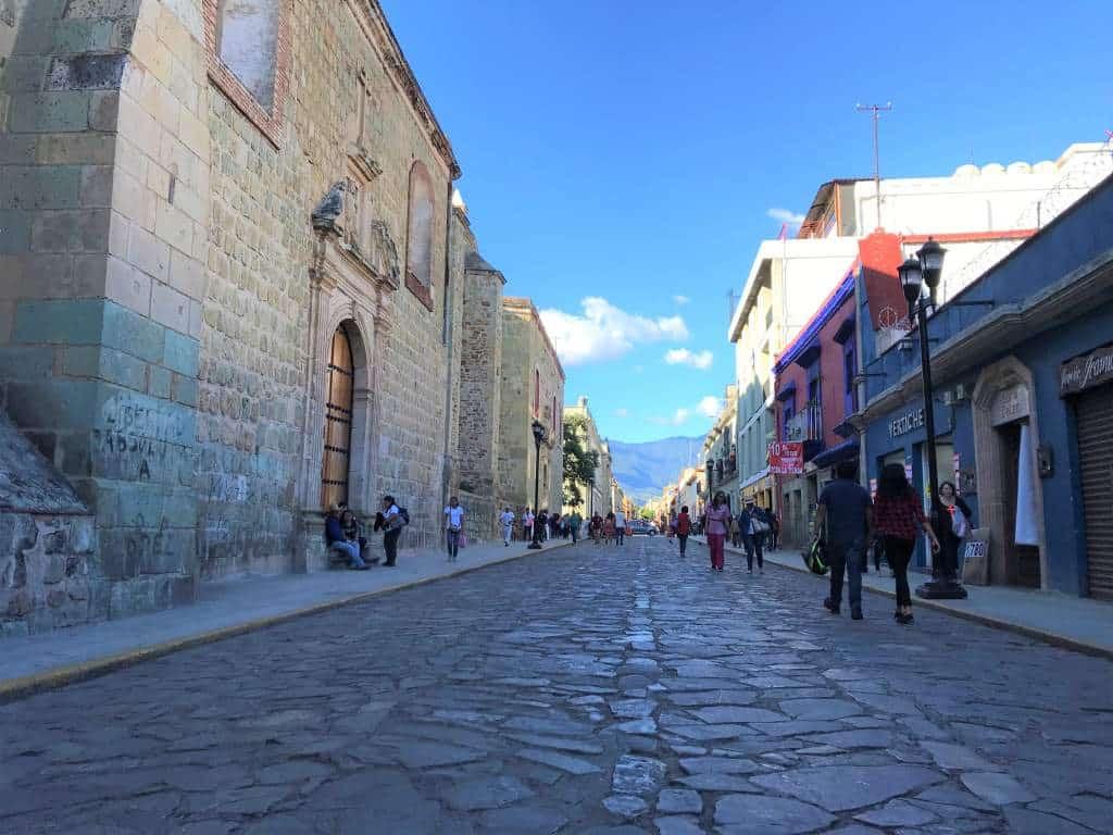 A cobblestone street in downtown Oaxaca.