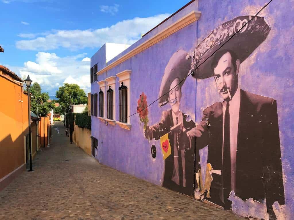 Street art on a cobblestone street of Oaxaca.