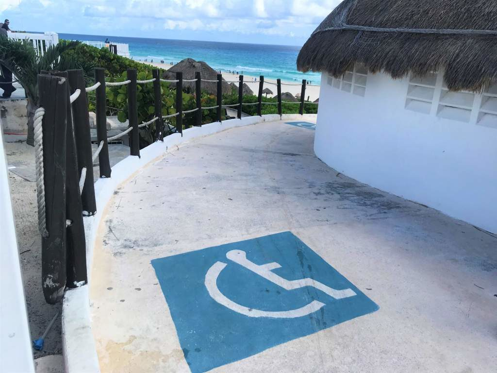A wheelchair accessible restroom at Playa Delfines, Cancun.