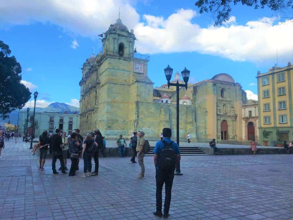An open area of the Zócalo in Oaxaca.