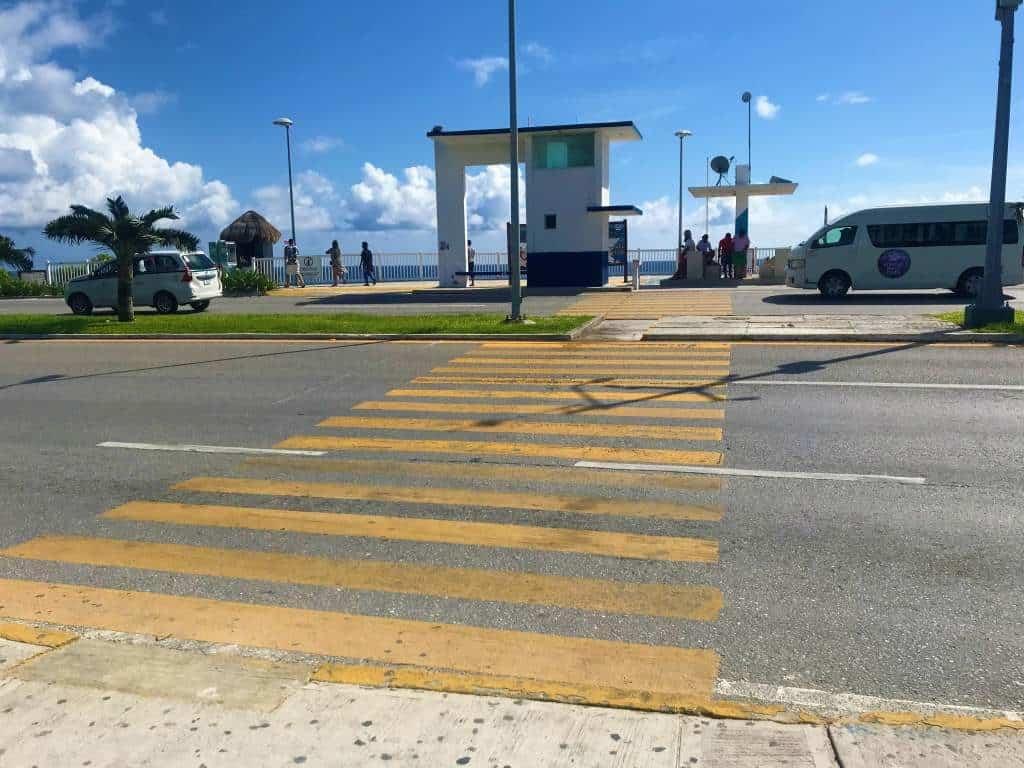 A wheelchair accessible crosswalk to the beach in Cancun.